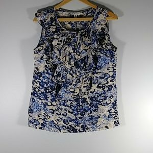 CAbi  blue/cream sleeveless blouse Sz S